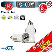Cargador mini mechero coche USB 1A para movil tablet car 12-24v 1000mA BLANCO