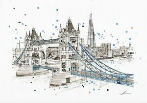London Scenic Art A3 Poster Print of Tower Bridge on Premium Linen Paper