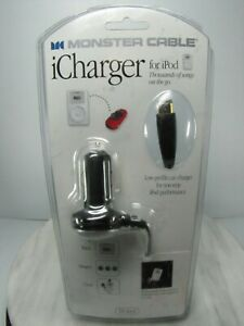 iPod CAR CHARGER Low Profile Auto ICharger MONSTER CABLE SEALED PACKAGE 10' Cord