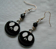 Handmade Jack The Nightmare Before Christmas Earrings Silver Plated Enamel Black