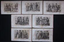 1859 TRAJES ITALIANOS 7 grabados Lostalot-Bachoué abogado militares magistrado
