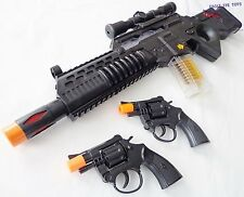 2x Toy Guns Electronic Special Forces Rifle w Sound 2x Revolver Pistol Cap Gun