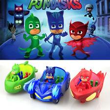3 un./set PJ Masks Gekko Catboy Owlette Móvil Vehículo Coche Figura de juguete