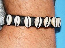 "QUEER AS FOLK Bracelet Black Leather Cuff COWRY Shells Brian Kinney 6""-11"" NEW!"