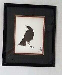 Signed Asian LtdEd Black Bird Print 40/250 Framed