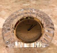 "Vintage Seiko Lead Crystal Quartz Mantle / Shelf Desk Clock Made In Japan 6x5x2"""