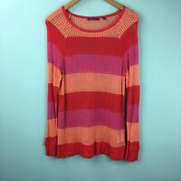 525 America Striped Pullover Open Knit Long Sleeve Sweater, Size Large