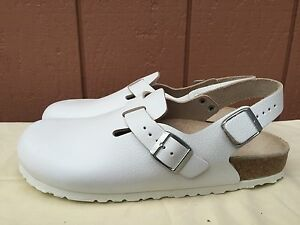 New Unisex Birkenstock White Boston Leather Footbed SIZE US M 8.5 W 10 EU 42