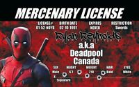 Deadpool of Stan Lee 's Marvel Comics novelty collectors card Drivers License