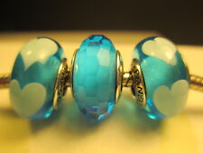 3 Authentic Pandora Silver 925 Ale Fascinating Aqua Love Blue Hearts Beads Charm