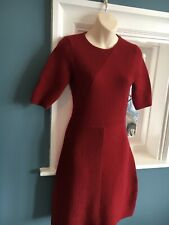 Hobbs Burgundy Knitted  Fit And Flare Dress Size 8