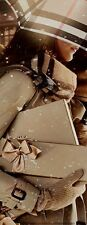 "BN Auth. Beautiful Designer BURBERRY Gold/Beige Satin Ribbon 31"" L. x 1-1/2"" W."