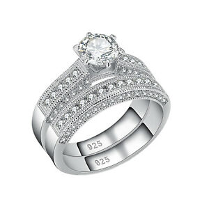 Round White Cz 925 Sterling Silver Engagement Wedding Ring Set For Women Size 8