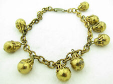 "Vintage Unsigned Dangle Charm Costume Jewelry 9"" Bracelet"