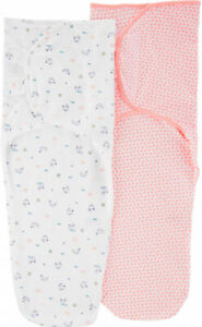 CARTER'S swaddle blankets narwhal/rainbow | hearts - 2 PACK SMALL (0-3 months)