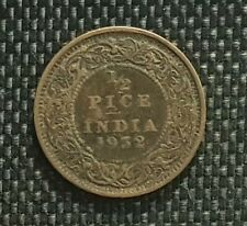 1932 British India George V Half Pice coin,F (+FREE 1 coin) #D8912