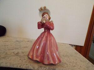"*Very Rare* Vintage Florence Ceramics ""Linda Lou"" PINK Dress Figurine MINT"