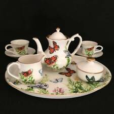 2007 Burton Miniature MIni Butterfly Porcelain Childs Tea Set Wings of Grace