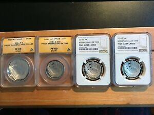 2014 Baseball Hall of Fame Coins PF 69!  Four Coins!