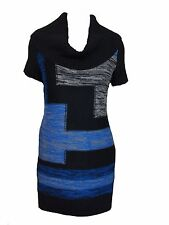 NY Collection Women's Colorblock Cowl Neck Sweater Dress Blue Multi XS