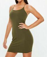MISSGUIDED Khaki Strappy Mini Dress UK 10 US 6 EU 38  (camg211)