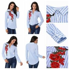 Women Striped Embroidery Front Button Blouse Long Sleeves Slim Shirt Casual Tops