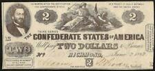 1862 $2 TWO DOLLAR CONFEDERATE STATES CURRENCY CIVIL WAR NOTE MONEY T-42 AU