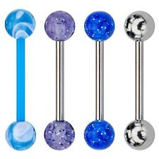 "Tongue Rings Multi Pack Barbell uv Surgical steel and Bioflex 14G 5/8"" 16mm 4pc"
