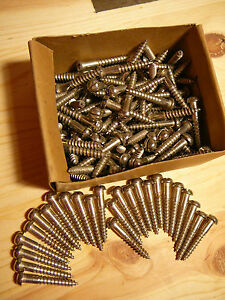 """NEW 1 1/2"""" #12 Round Head Wood Screws Lot of 25 Nickel Plated,Pheoll Mfr.Co.RARE"""