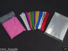 "50 x 3.5"" PINK CAKE POP KIT PLASTIC STICKS CELLO BAGS & METALLIC TWIST TIES"