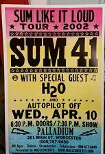 SUM 41..H20...Block Print Concert Poster Worster MA