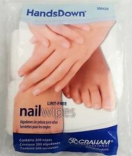 200 Graham Hands Down Nail Wipes Lint Free / Finishing wipe UV GEL Acrylic Nails