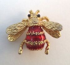 Vintage Red Enamel Bumble Bee Gold Tone Pin Brooch Small Insect Jewelry