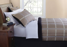 MAINSTAYS 6-PIECE BEIGE PLAID BED IN A BAG COMFORTER SET, SIZE: TWIN, NEW