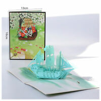 3D Pop Up Greeting Card Birthday Wedding Valentine Father's Day Colored Sailing