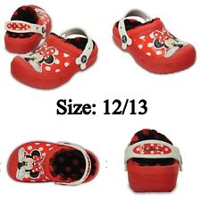 "✨NEW✨ Creative Crocs Girl's ""MINNIE MOUSE"" Fuzz Lined Clog in Red Size: 12/13"