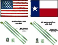 3x5 USA American & State of Texas Premium Flags Aluminum Pole Kit Ball Top 3'x5'