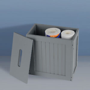 Wooden gray Crisp Finish Small Toilet Cleaning Product Storage Tidy Box Unit