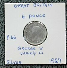 1927 UK Silver 6 Pence - silver coin
