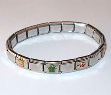 SIGNED D'LINQ SEGMENT SLIDE CHARM BRACELET STAINLESS STEEL ITALY HAWAIIAN THEMED
