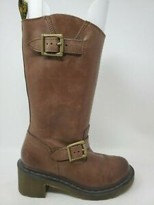 Dr Martens Rowena Motorcycle Boot Harness Brown Leather Womens Size 5 US