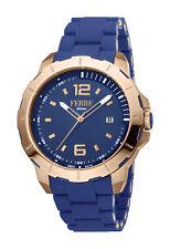 Ferre Milano Men's FM1G107M0031 Rose-Gold IP Steel Blue Rubber Date Wristwatch