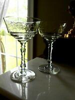 2 Cut Crystal Champagne LIBBEY ROCK SHARPE Elegant  1950s