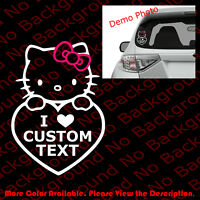 Custom Text HELLO KITTY Love Car Window/Laptop Vinyl Die Cut Decal Sticker HK006
