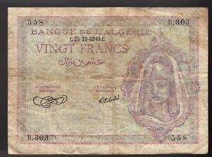 ALGERIA 1943 20 FRANCS CIRCULATED BANKNOTE Pic# 92