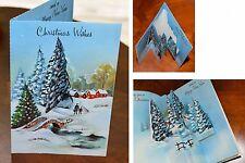 Vintage UNUSED Christmas Card GLITTER PEOPLE DIE CUT POP-OUT England Mid-Century