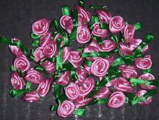 50 Satin Ribbon Roses -Pink-Sewing Bow Craft- New