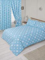 Lovely Baby Blue And White Stars Double Duvet Cover Bedding Set Stars Theme