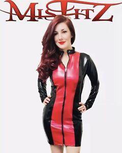 Misfitz black and red Pvc mistress dress 2 way zip size 22 TV Goth Cross-dresser