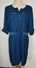 New York and Company Shirt Dress XL 3/4 Sleeve Silky Zip Pockets
